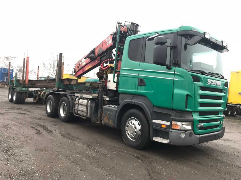 Scania R 500V8 6X4 + JONSERED 2490 TĚŽBA DŘEVA